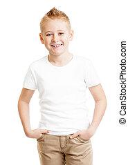 posición, aislado, tshirt, niño, frente, modelo, guapo, blanco, vista