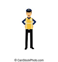posición, akimbo, chaleco, policía, brazos, visibilidad, uniforme, alto, oficial de tráfico, caricatura