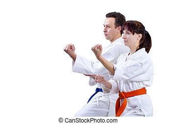posición, Atleta, dos,  karate, Adulto, estante