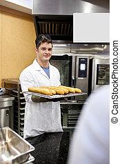 posición, baguettes, panes, panadero, joven, tenencia,...