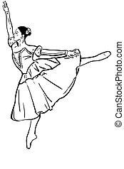 posición, bailarina, bosquejo, postura, ella/los/las de niña