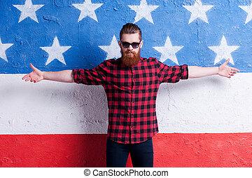 posición, barbudo, gafas de sol, completo, apertura, mantener, contra, el mirar joven, bandera, cámara, mientras, brazos, norteamericano, guapo, confidence., hombre