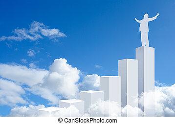 posición, barras, empresa / negocio, gráfico, cima, hombre