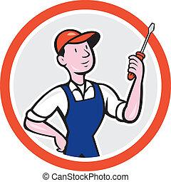 posición, círculo, electricista, destornillador, caricatura