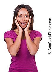 posición, cabeza, mujer, ella,  unbelievable!, africano, aislado, joven, mientras, tenencia, Manos, él, blanco, feliz