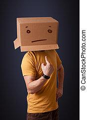 posición, caja, cabeza, el suyo, derecho, joven, cara, cartón, el gesticular, hombre