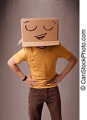 posición, caja, cabeza, el suyo, smiley, joven, cara, cartón, el gesticular, hombre