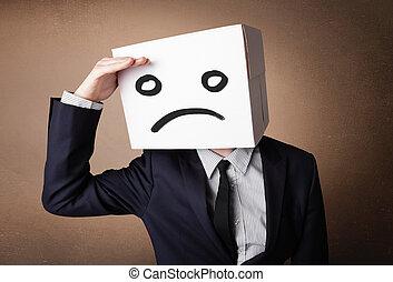 posición, caja, cabeza, el suyo, triste, cartón, hombre de negocios, cara, el gesticular