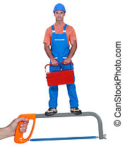 posición, caja de herramientas, sierra, hombre