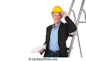 posición, capataz, trabajando, casco, confiado, conmovedor, arquitecto, tenencia, plan., profesional