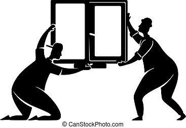 posición, caracteres, pose., illustration., 2d, impresión, reparador, silueta, ventana, caricatura, instalación, workers., negro, forma, vector, comercial, gente, servicio, animación, economía doméstica