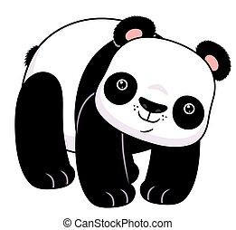 posición, caricatura, panda