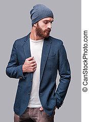 posición, chaqueta, barbudo, el suyo, guapo, ajuste, gris, contra, el mirar joven, mientras, trendy., plano de fondo, fresco, lejos, hombre