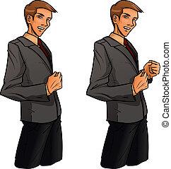 posición, clenches, hombre, puño, uno