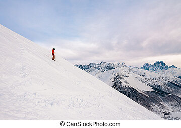 posición, colina, snowboarder, nieve