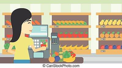 posición, compruebe, cajero, supermarket.