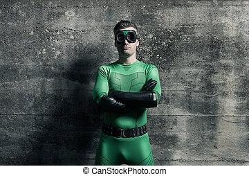 posición, confiado, superhero, armamentos cruzaron