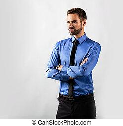 posición, confident., joven, aislado, hombre de negocios, blanco, guapo