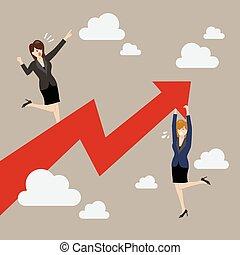 posición, corporación mercantil de mujer, gráfico, crecer, asimiento