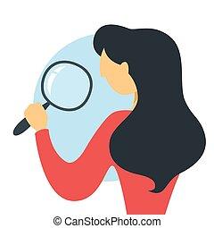 posición, corporación mercantil de mujer, magnifyng, marca, investigación, vidrio