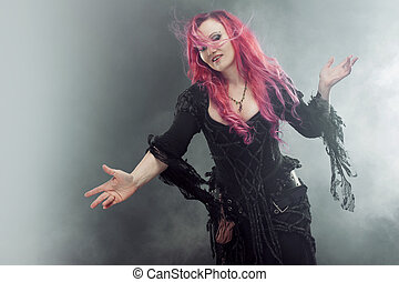 posición, crea, mujer, extendido, magic., halloween, pelo, ...