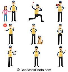 posición, diferente, conjunto, servicio, policía, situaciones, actuación, parada, perro, señal, corriente, caricatura, camino