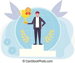 posición, dorado, gráfico, cup., oficina, plano, ganador,...