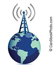 posición, eart, cima, torre de radio