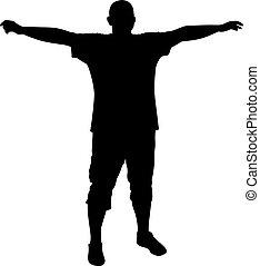 posición, el suyo, brazos extendidos, hombre
