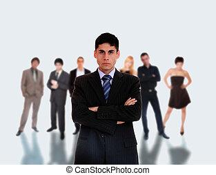 posición, el suyo, equipo negocio, frente, líder
