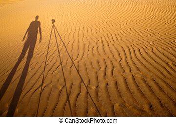 posición, el suyo, fotógrafo, trípode, luego, molde, sombra