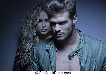 posición, el suyo, oh, joven, frente, moda, novia, hombre