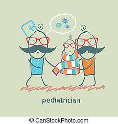 posición, el suyo, padre, luego, pediatra, niño enfermo