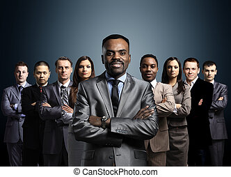 posición, empresa / negocio, encima, formado, joven, oscuridad, hombres de negocios, plano de fondo, equipo