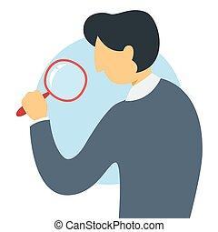 posición, empresa / negocio, magnifyng, marca, investigación, vidrio, hombre