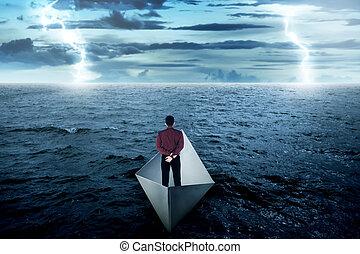 posición, empresa / negocio, papel, solamente, barco, hombre