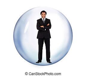 posición empresario, en, un, burbuja