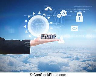 posición, empresarios, imagen compuesta, arriba