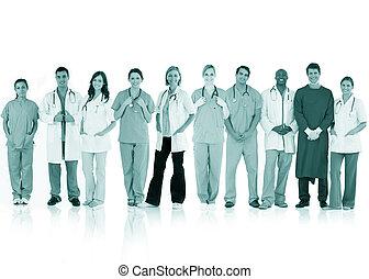 posición, equipo, juntos, doctors, línea, feliz