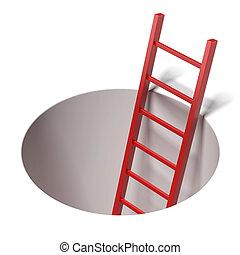 posición, escalera, dentro, agujero