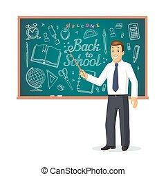 posición, escuela, concept., bienvenida, espalda, palo, frente, sonriente, indicador, profesor, pizarra