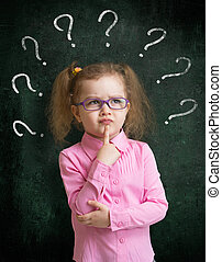 posición, escuela, lentes, pizarra, marcas, pregunta, niño, ...