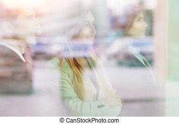 posición, exitoso, ventana, grupo, businesspeople