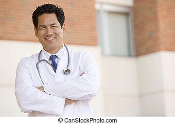 posición, exterior, médico hospital