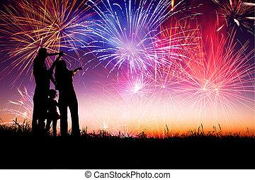 posición, familia , mirar, fuegos artificiales, colina,...