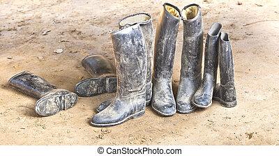 posición, fangoso, botas, plástico, sucio, equitación, gry,...