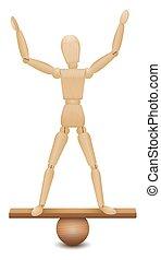 posición, figura, seguro, inestable, posición, balance