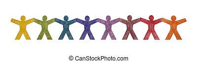 posición, fila, colorido, gente