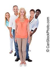 posición, fila, grupo, multi-ethnic, gente