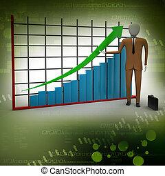 posición, financ, hombre de negocios